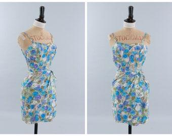 Vintage original 1950s 50s Alix of Miami floral rose print swimsuit swim dress UK 6 US 2 XXS xs