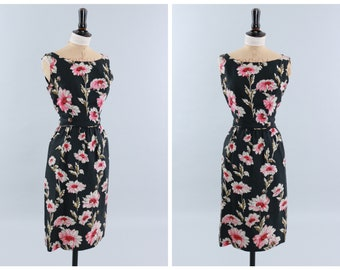 Vintage original 1950s 50s 1960s 60s floral print pure silk dress by Rembrandt UK 8 US 4 XS S
