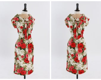 Reserved! Please do not purchase. Vintage original 1950s 50s vibrant rose floral print silk dress by Chanelle UK 8 10 US 4 6 S