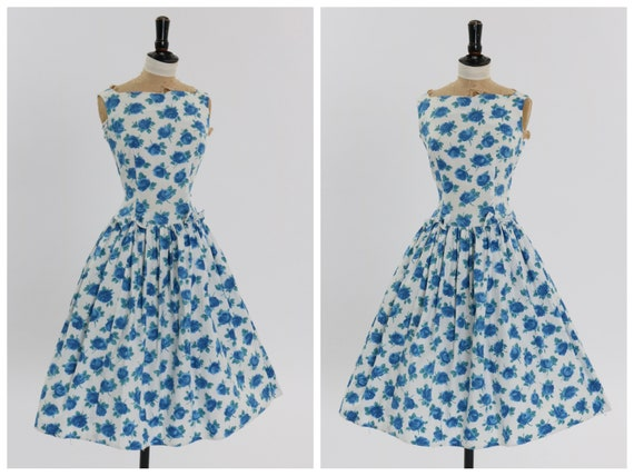 Vintage 1950s original Sambo fashions blue rose pr