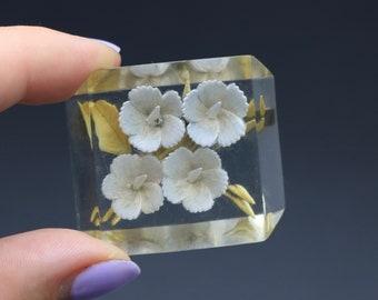 Vintage 1950s original reverse carved lucite floral flower brooch