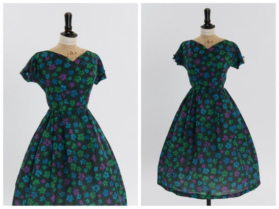 Vintage 1950s original black floral print dress by