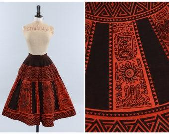 Vintage original 1950s 50s novelty print Mexican circle skirt hand painted design Maya de Mexico UK 8 US 4 XS S