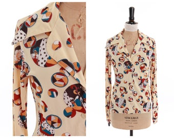 Vintage original 1970s 70s novelty print shirt or blouse art deco masquerade print UK 6 8 US 2 4 XS