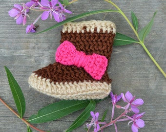 """Xtratuf Inspired Crochet Baby Booties With Pink Bow """"Pretty In Tufs"""""""