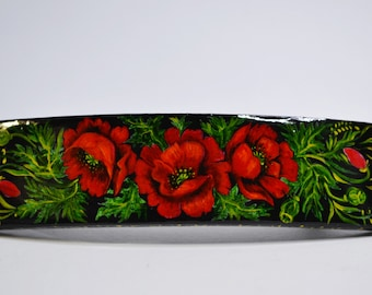 Hand painted Hair Barrette Wooden Hair Clip Ukrainian folk style  Red flowers on a black background . Made to order.