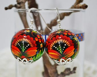 Hand painted Earrings Wooden Earrings  Ukrainian folk style Petrykivka painting Hook Silver 925.Made to order.
