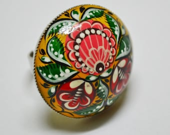Hand painted Ring Wooden Cabochon Ring Nickel-plated base Russian folk style Gorodets Painting Ring.Made to order.