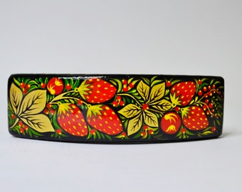 Hand painted Hair Barrette Wooden Hair Clip  Handmade  Russian folk style Khokhloma painting. Made to order.