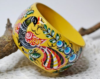 Hand painted Bangle Wooden Bracelet Russian folk style Gorodets painting.Made to order.