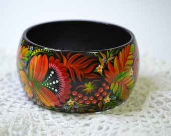 Hand painted Bracelet Wooden Bangle  Ukrainian folk art  Petrykivka painting.Made to order.