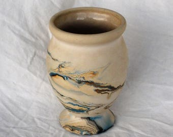 Nemadji Swirl Ceramic Footed Vase, 6""