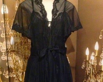 Vintage sleepwear nightgown  lingerie 2pc black