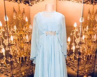 True vintage baby/sky Blue Gown  chiffon butterfly sleeves