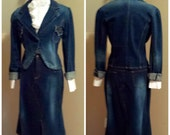 Two Piece Denim Stretch Jacket And Skirt Outfit