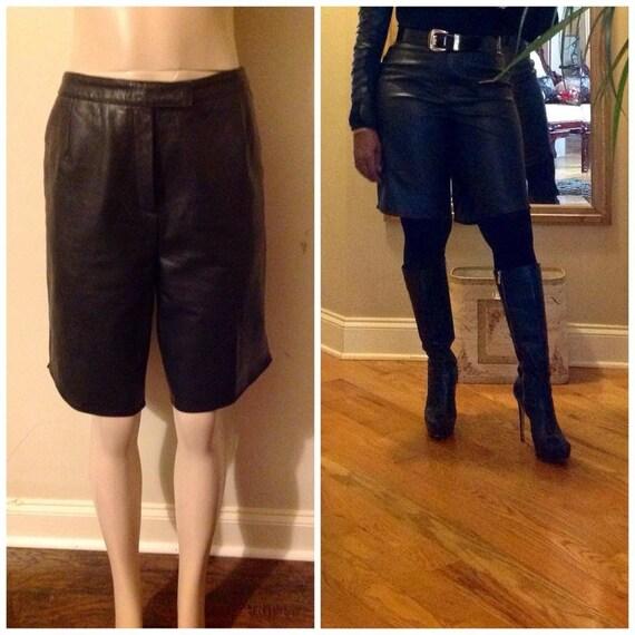 Black leather shorts - image 1
