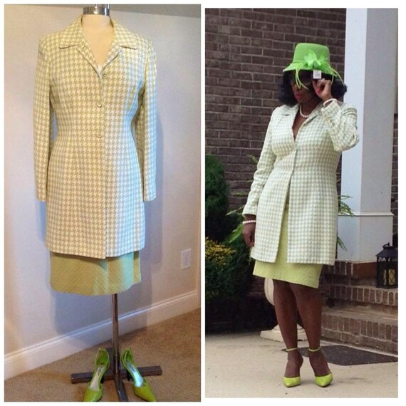 2p Green and Cream Houndstooth Skirt Suit