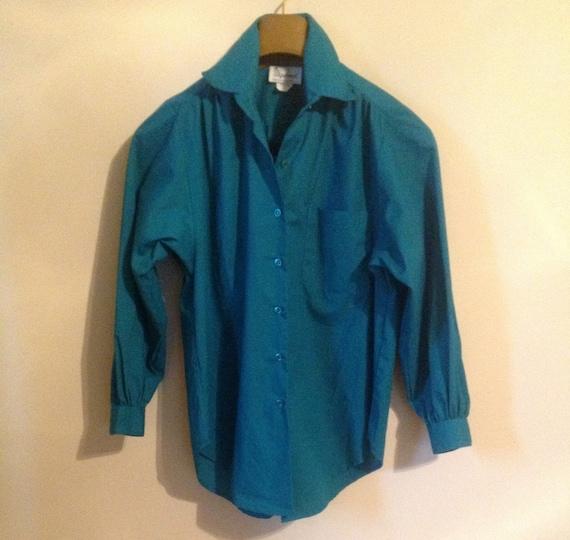 Lady Diplomat Green Shirt Blouse Oversize Med Petite