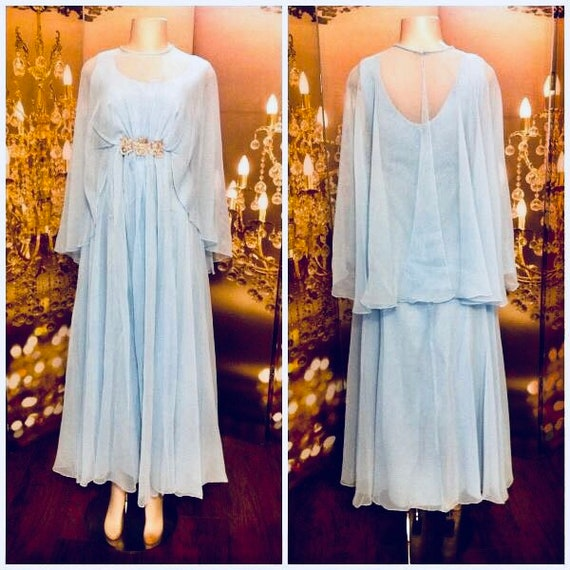 True vintage baby/sky Blue Gown  chiffon butterfly