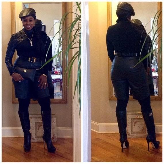 Black leather shorts - image 5