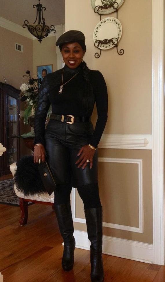 Black leather shorts - image 10