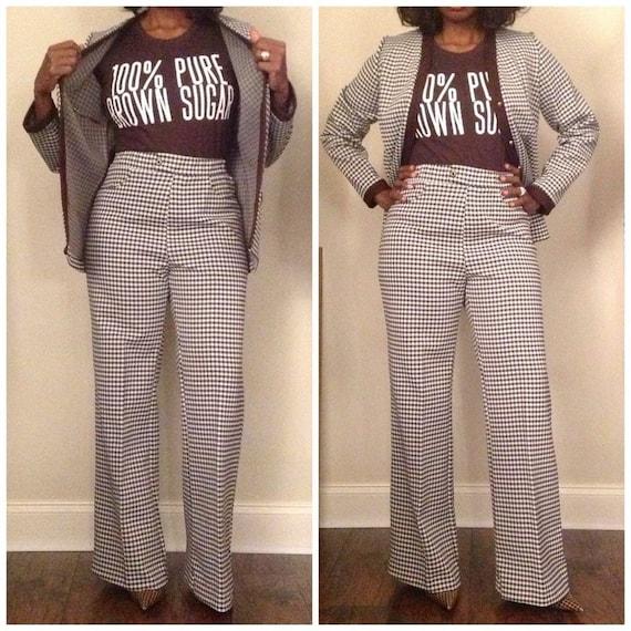 Brown Houndstooth Vintage Suit