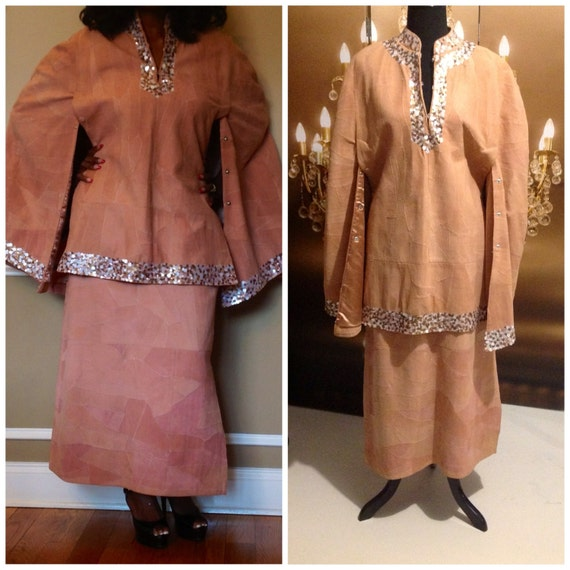 Donna Lepure  Real Leather Cape And Skirt Suit Ful