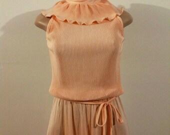 SALE!!! Peach Maxi Dress With Ruffled Top Collar