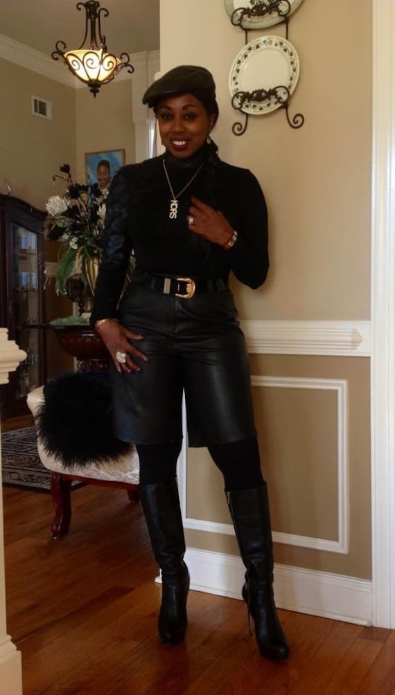 Black leather shorts - image 6