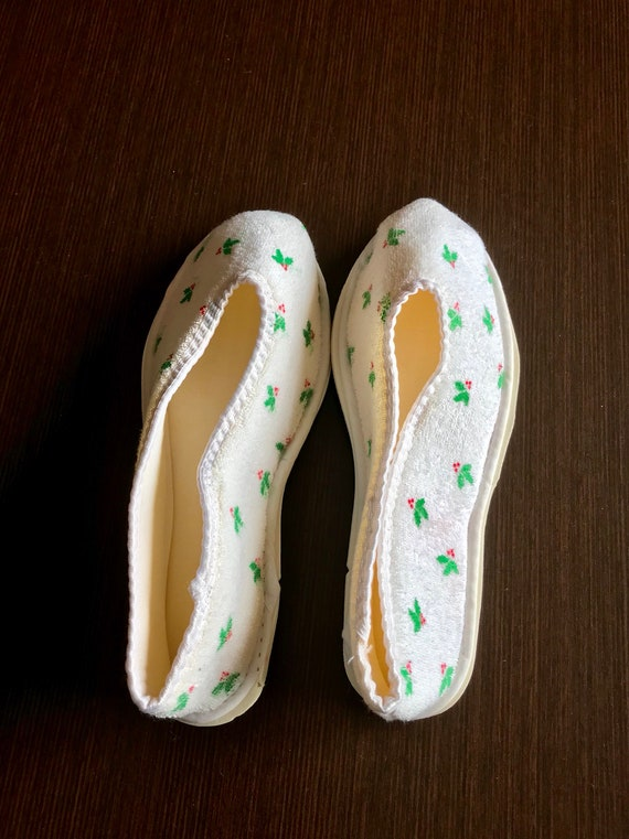 Vintage christmas Slippers, bedshoes houseshoes - image 5