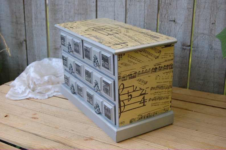 Music Box Organizer Upcycled Decoupage Black Storage Silver Jewelry Chest Shabby Chic Speak Softly Love Farmhouse Jewelry Box