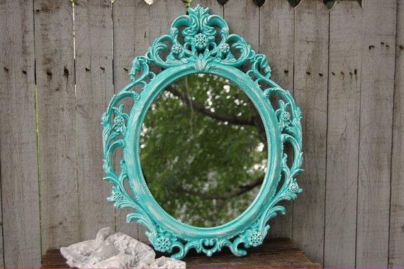 Barok Spiegel Ovaal : Shabby chique spiegel wand spiegel barok spiegel aqua etsy