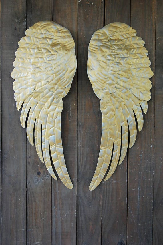 Large Angel Wings Wall Decor Hand Painted Silver Gold Etsy