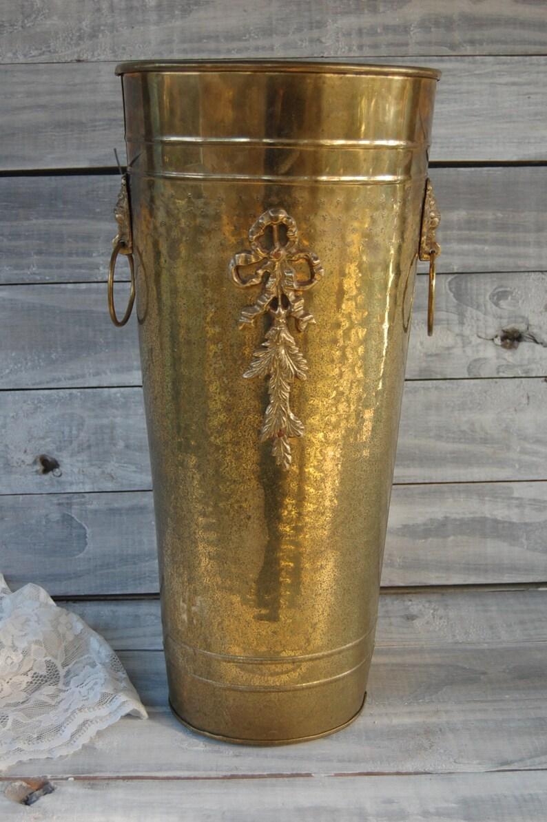 Gold Wedding Lion/'s Head Handles Vintage Brass Umbrella Stand Entryway Tall Planter Decor Umbrella Holder Solid Brass Hammered Brass