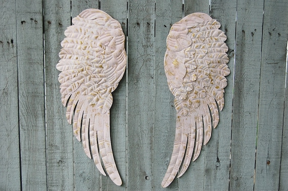 Angel Wings Shabby Chic Pink Gold Large Metal Upcycled | Etsy