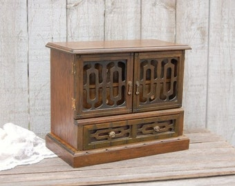 Jewelry Box, Vintage, Wood, Mid Century, Walnut, Carved, Wooden
