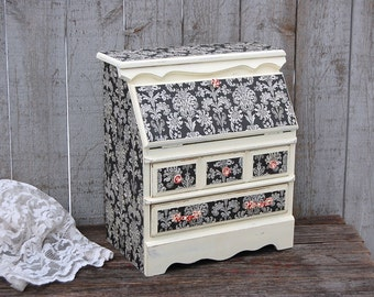 Shabby Chic Jewelry Box, Ivory, Black, Red, Damask, Decoupage, Hand Painted, Jewelry Organizer,  Upcycled, Drop Front