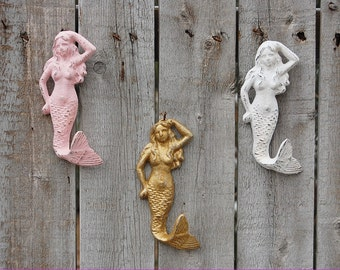 Painted Mermaid Hook, Mermaid Hook, Wall Hook, Cast Iron, Beach Decor, Pink, Gold, White, Hand Painted, Nursery Decor, Set of 3
