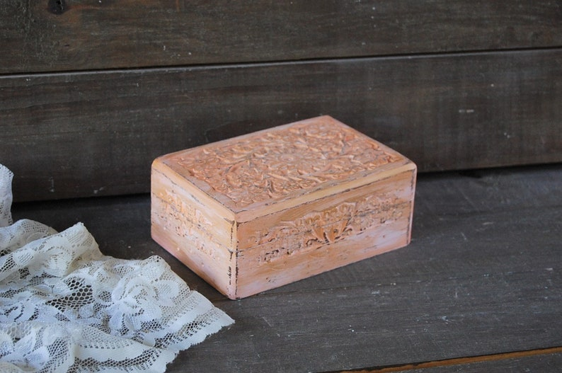 Bridesmaid Gift Ring Box Jewelry Trinket Box Shabby Chic Pink Gold Hand Painted Upcycled Jewelry Storage Rosewood Hand Carved