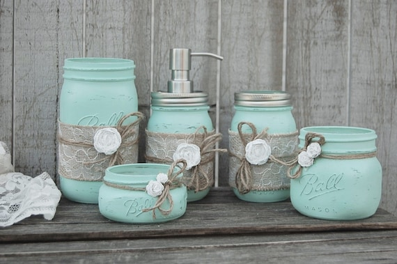 Mason Jar Badezimmer Set Mintgrun Shabby Chic Etsy
