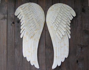 Large Angel Wings Wall Decor, Shabby Chic, Ivory, Gold, Metal, Rustic