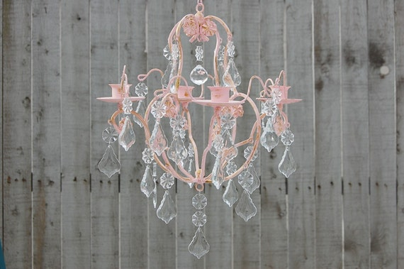 Candle chandelier shabby chic pink gold hand painted etsy image 0 aloadofball Image collections