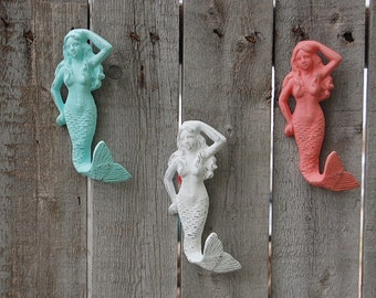Mermaid Hook, Painted, Wall Hook, Cast Iron, Mint Green, Coral, White, Beach Decor, Nautical Decor, Hand Painted, Towel Hook, Dorm Decor