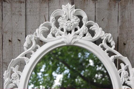 Barok Spiegel Ovaal : Wand spiegel shabby chic barokke spiegel wit ovaal etsy