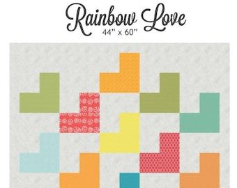 Rainbow Love quilt pattern - downloadable pdf