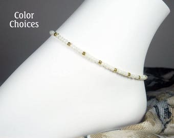 9c526d42d Seed Bead Ankle Bracelet - Dainty Beaded Bracelet - Gold Anklet - Plus Size  - Girls Size - Summer Jewelry - 7