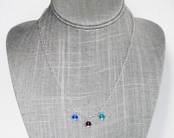 Swarovski Crystal Birthstone Necklace - Birthstone Chain Necklace - Mothers Necklace - Silver Necklace - Grandmother Necklace - Gift for Her
