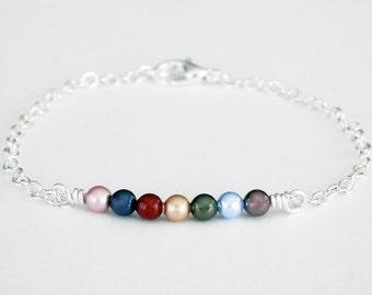 Mothers Pearl Bar Bracelet, Swarovski Pearls, Dainty Birthstone Bracelet, Bar Bracelet, Pearl Bracelet, Sterling, Silver, Gold,  On Trend