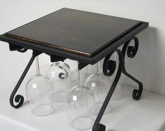 Wine glass rack with Dark Walnut stained top.