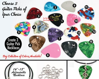 Create Your Own Guitar Pick Necklace Kit--DIY Guitar Picks w/ Pre-Punched Holes-YOU Choose the COLORS!